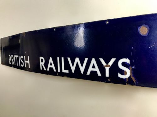 Vintage Enamel Metal British Railways Sign / Advertising / Train / Large / Blue